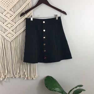 Allegra K Button closure front mid rise mini skirt